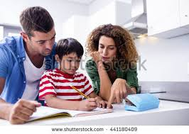 Mother Pencils Son Banco de im  genes  Fotos y vectores libres de     Shutterstock Parents helping son with homework in kitchen