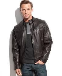 men s moto jacket calvin klein leather moto jacket in black for men lyst