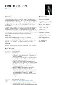 Online Marketing Manager Resume by Event Manager Resume Samples Visualcv Resume Samples Database
