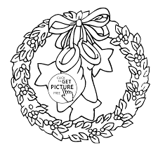 christmas wreath with bow and stars coloring pages for kids