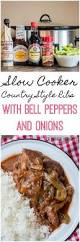 slow cooker country style barbecue ribs with bell peppers and
