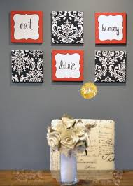 Red White And Black Kitchen Ideas Red And Black Damask Eat Drink Be Merry U201cchef U201d Wall Decor Set