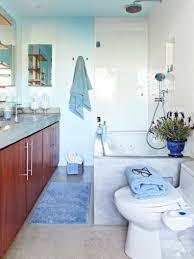 blue bathroom ideas standing washbasin under the mirror black