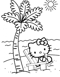 hello kitty sitting at the beach coloring page coloring