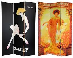 6 ft tall double sided vintage women canvas room divider