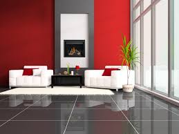 all 4 walls grey and black furniture with red accents living black electric napoleon fireplace with decorative mantel kit matched with red wall plus white sofa set on gray tile floor with white rug for living room