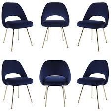 Office Furniture For Sale In Los Angeles Saarinen Executive Armless Chairs In Navy Velvet 24k Gold Edition