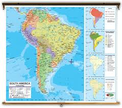 Latin America Political Map by Advanced South America Political Classroom Map On Spring Roller