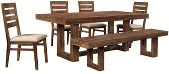 six piece modern rustic rectangular trestle table with ladderback