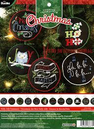 holly jolly ornaments 12 pce bucilla christmas counted cross