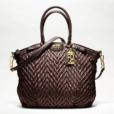 Coach Madison Quilted Chevron Nylon Lindsay Satchel