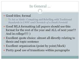 Compare and Contrast Essays  In General     Good titles  formal