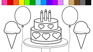 learn colors and color rainbow ice cream birthday cake balloon