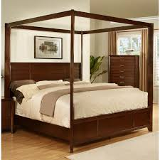 Bedroom Furniture Espresso Finish Lyke Home Lana Post Bed Accent Pieces Canopy And Espresso
