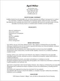 Examples Of Professional Summary For Resume by Professional Medical Records Specialist Resume Templates To