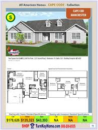 manchester all american modular home cape cod collection plan price