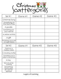 free printable christmas scattergories game for a fun game that