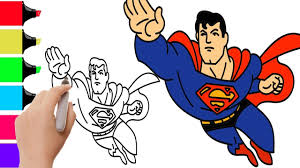 how to draw superman cartoon for bad baby learning coloring pages