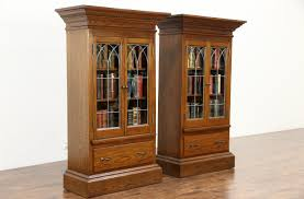 antique oak bookcase with glass doors oak display cabinets with glass doors roselawnlutheran