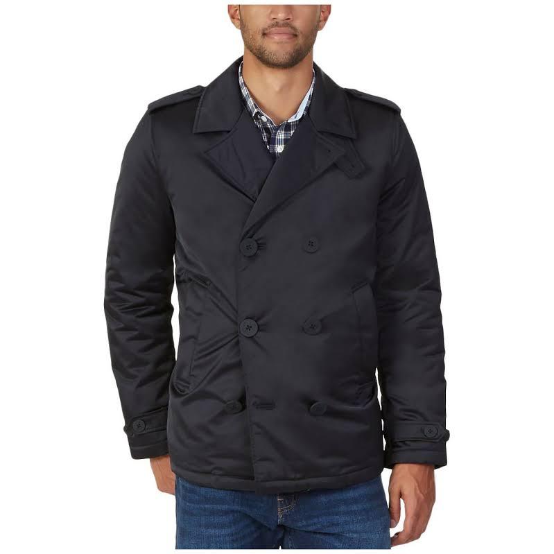 Nautica Long Sleeve Pea Coat, Black, Medium