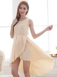 lady fashion pure color asymmetrical hem apricot sleeveless dress