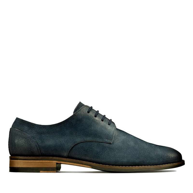 Clarks Flow Plain 26143649 Blue Nubuck Casual Lace Up Oxfords Shoes