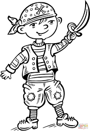child dressed up like a pirate coloring page free printable