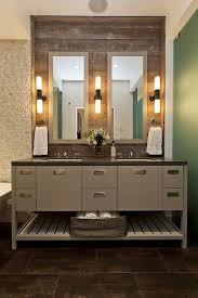 bathroom impressive wooden bathroom vanity and wall faucet at