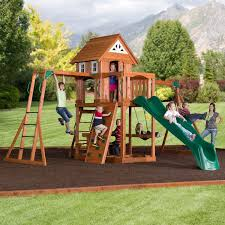 Cedar Playsets Natural Green Grass And Balsam Hill Trees Plus Backyard Playsets