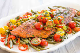 Vegetables by One Pan Roasted Harissa Salmon With Vegetables Recipe