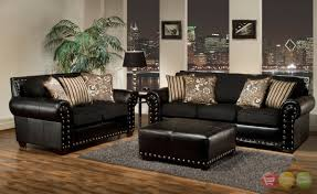 living room contemporary black leather living room set with