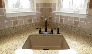 Kitchen Sinks For Granite Countertops : Kitchen  Incredible Decorating Ideas using Brown Granite Countertops and black Single Hole Faucets also