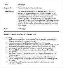 Sample Bookkeeping Resume by Bookkeeper Job Description 5 Insurance Assistant Job Description