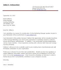 Cover letter sales marketing college Product Manager Cover Letter Examples