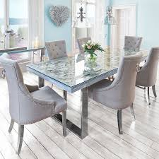 seashell top dining table and 6 chairs