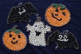 of dawn crafts bean mosaics easy halloween kids craft