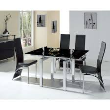 Mini Extendable Black Glass Dining Table With  Chairs - Black dining table for 4