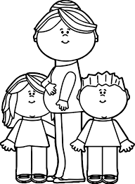 pregnant mom with kids coloring page wecoloringpage
