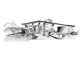 Mid Century Modern House Plan Ridgewood House Sketch St Louis Midcentury Modernism Ralph