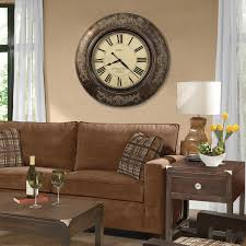 Living Room Table Lamps Decorating Harrisburg Oversized Wall Clock With Cozy Sofa And