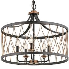 Foyer Chandeliers Lowes by Kichler Lighting Barrington 5 Light Distressed Black And Wood