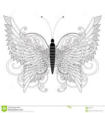 elegant butterfly coloring page stock illustration image 58878871