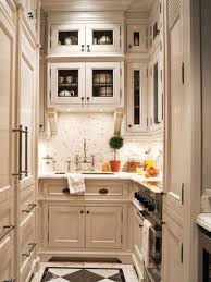 bright small kicthen design with wooden kitchen cabinet and white