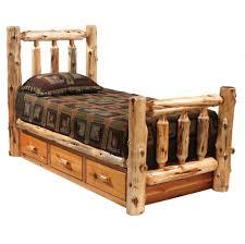 Cedar Bedroom Furniture Log Bed With Drawers Rustic Furniture Pinterest Log Bed