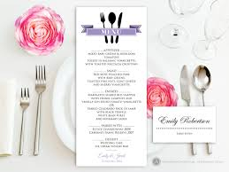Editable Wedding Invitation Cards Free Printable Dinner Menu Lilac Free Place Card For Wedding