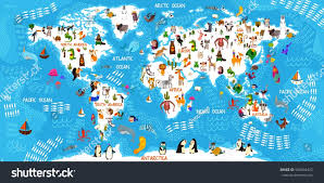 Kids World Map Cartoon Animal World Map Animals All Stock Vector 596494412