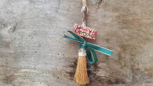 merry yule hanging broomstick yule tree ornament christmas tree