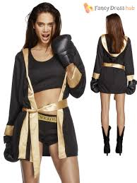 ladies fever knockout boxing fancy dress costume womens boxer