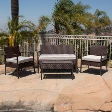 Wicker Outdoor Furniture Sets by 4pc Rattan Wicker Patio Furniture Set Sofa Chair Table Cushioned