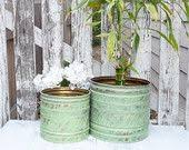 Shabby Chic Planters by Vintage Moroccan Planters Set Of 2 Large Brass By Huckleberryvntg